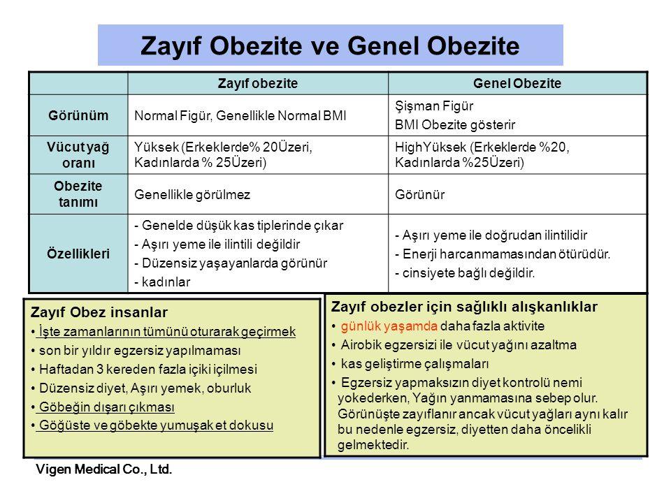 Vigen Medical Co., Ltd. Zayıf Obezite ve Genel Obezite Zayıf obeziteGenel Obezite GörünümNormal Figür, Genellikle Normal BMI Şişman Figür BMI Obezite