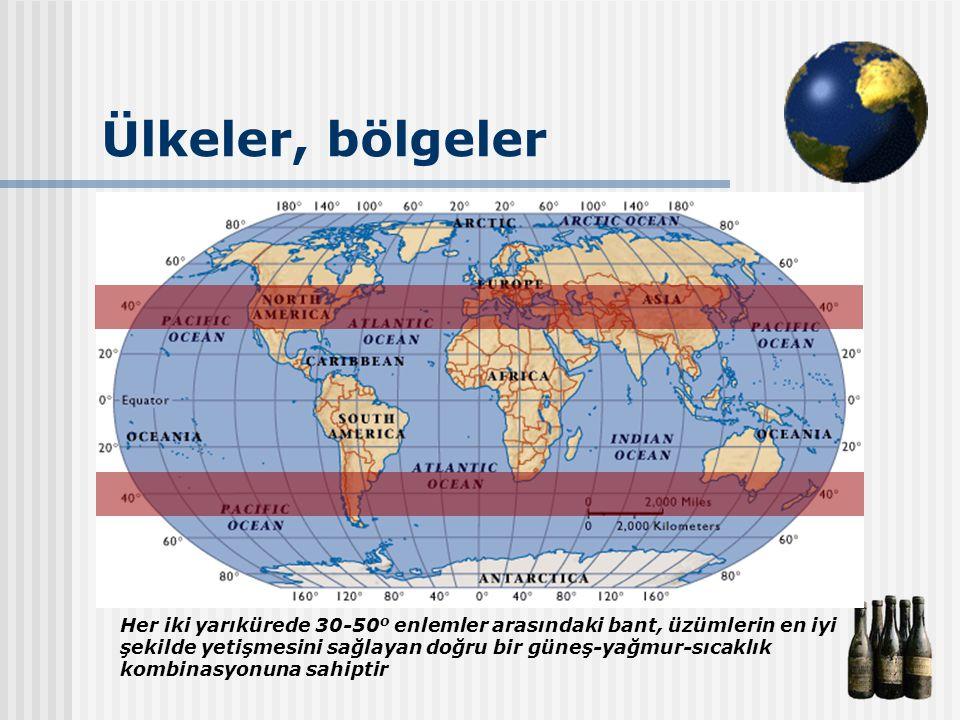 Ülkeler, bölgeler Her iki yarıkürede 30-50 o enlemler arasındaki bant, üzümlerin en iyi şekilde yetişmesini sağlayan doğru bir güneş-yağmur-sıcaklık k