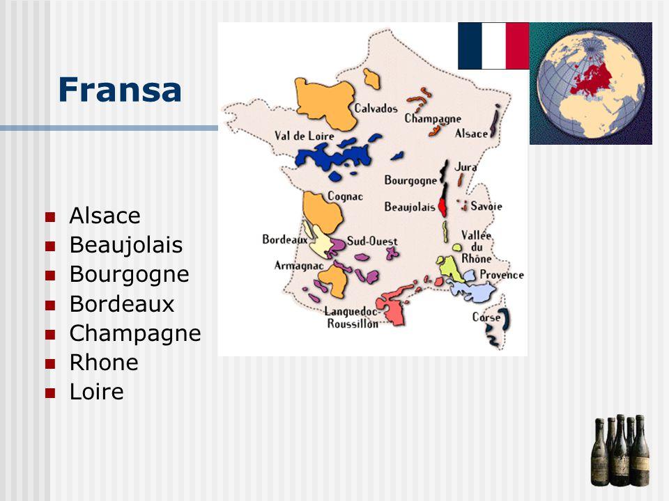 Fransa Alsace Beaujolais Bourgogne Bordeaux Champagne Rhone Loire