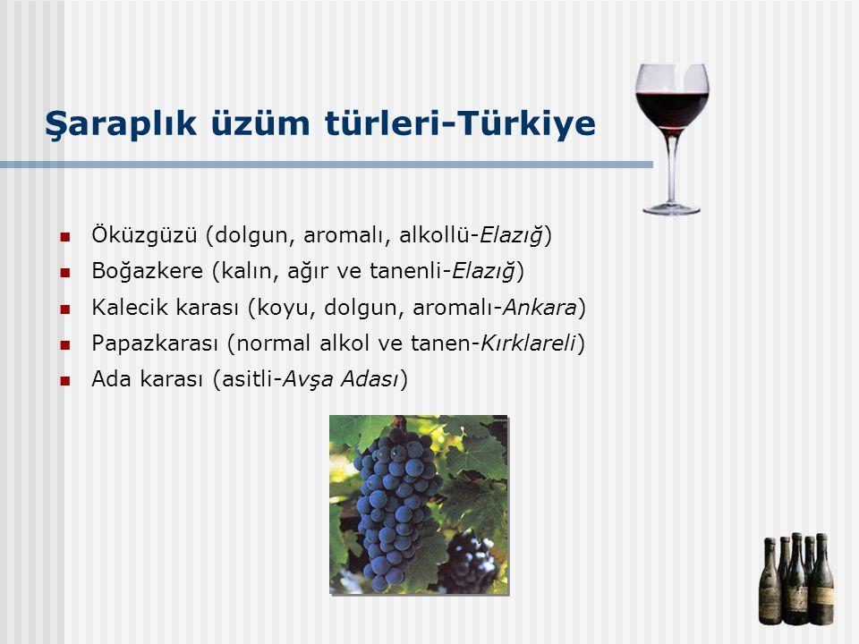 Şaraplık üzüm türleri-Türkiye Öküzgüzü (dolgun, aromalı, alkollü-Elazığ) Boğazkere (kalın, ağır ve tanenli-Elazığ) Kalecik karası (koyu, dolgun, aroma