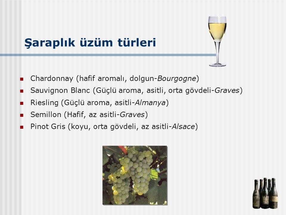 Şaraplık üzüm türleri Chardonnay (hafif aromalı, dolgun-Bourgogne) Sauvignon Blanc (Güçlü aroma, asitli, orta gövdeli-Graves) Riesling (Güçlü aroma, a