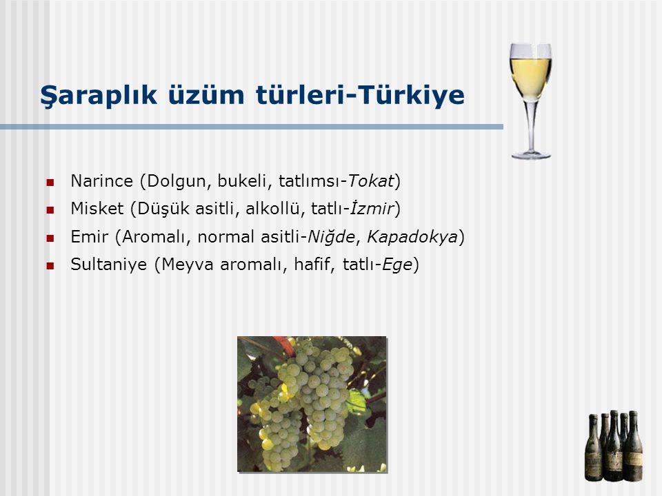 Şaraplık üzüm türleri-Türkiye Narince (Dolgun, bukeli, tatlımsı-Tokat) Misket (Düşük asitli, alkollü, tatlı-İzmir) Emir (Aromalı, normal asitli-Niğde,