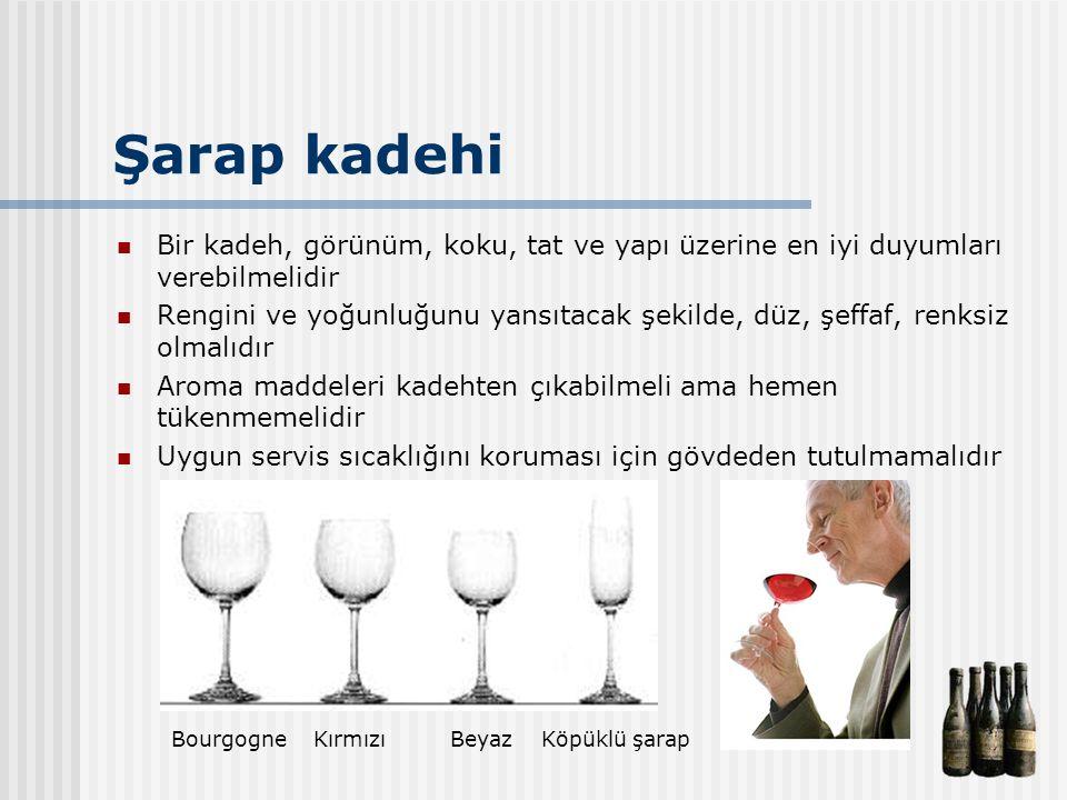 Şarap kadehi Bir kadeh, görünüm, koku, tat ve yapı üzerine en iyi duyumları verebilmelidir Rengini ve yoğunluğunu yansıtacak şekilde, düz, şeffaf, ren