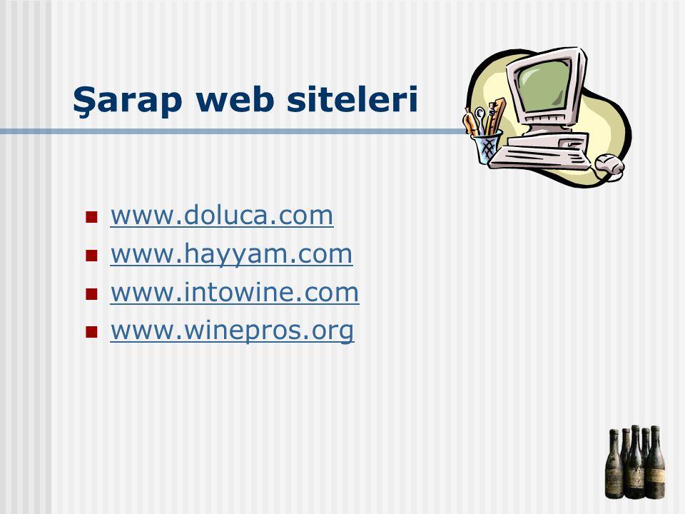 Şarap web siteleri www.doluca.com www.hayyam.com www.intowine.com www.winepros.org
