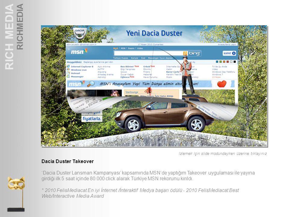 RICH MEDIA RICHMEDIA Dacia Duster Takeover 'Dacia Duster Lansman Kampanyası' kapsamında MSN'de yaptığım Takeover uygulaması ile yayına girdiği ilk 5 s