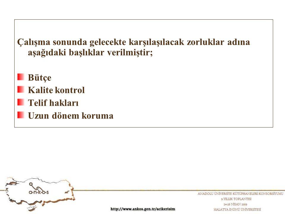 Çalışma sonunda gelecekte karşılaşılacak zorluklar adına aşağıdaki başlıklar verilmiştir; Bütçe Kalite kontrol Telif hakları Uzun dönem koruma