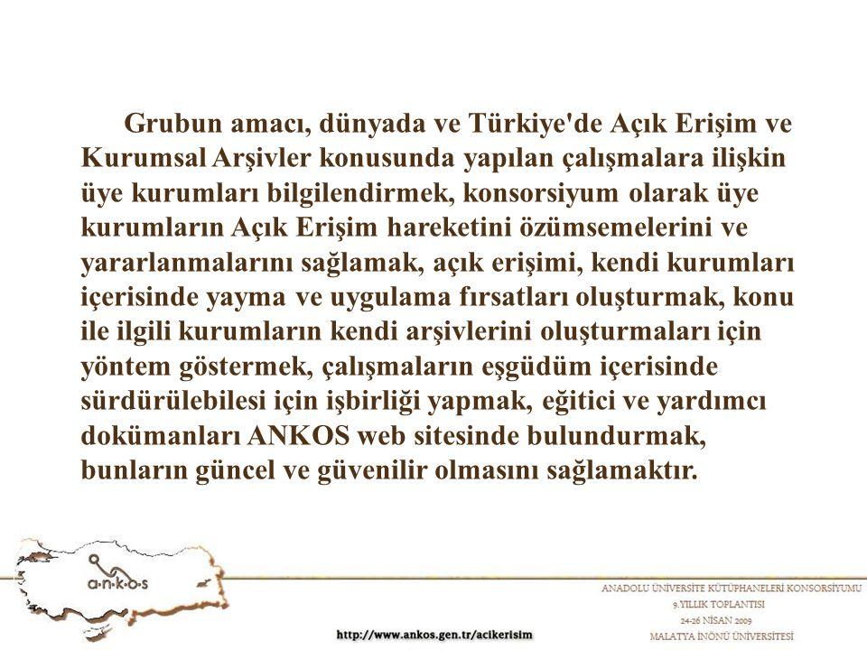 Grubun amacı, dünyada ve Türkiye de Açık Erişim ve Kurumsal Arşivler konusunda yapılan çalışmalara ilişkin üye kurumları bilgilendirmek, konsorsiyum olarak üye kurumların Açık Erişim hareketini özümsemelerini ve yararlanmalarını sağlamak, açık erişimi, kendi kurumları içerisinde yayma ve uygulama fırsatları oluşturmak, konu ile ilgili kurumların kendi arşivlerini oluşturmaları için yöntem göstermek, çalışmaların eşgüdüm içerisinde sürdürülebilesi için işbirliği yapmak, eğitici ve yardımcı dokümanları ANKOS web sitesinde bulundurmak, bunların güncel ve güvenilir olmasını sağlamaktır.
