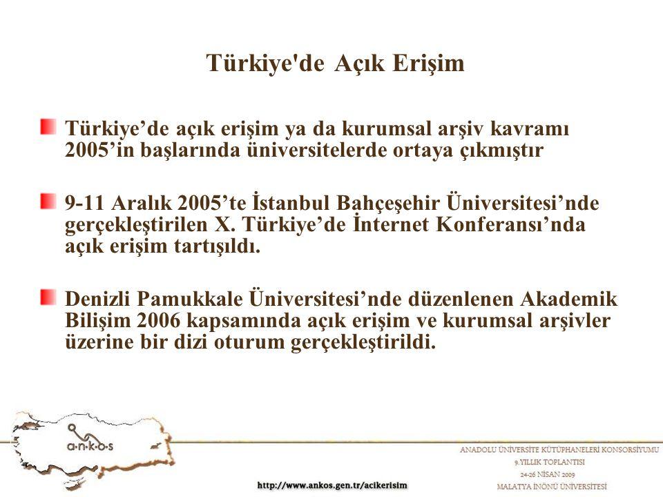 Türkiye de Açık Erişim Türkiye'de açık erişim ya da kurumsal arşiv kavramı 2005'in başlarında üniversitelerde ortaya çıkmıştır 9-11 Aralık 2005'te İstanbul Bahçeşehir Üniversitesi'nde gerçekleştirilen X.