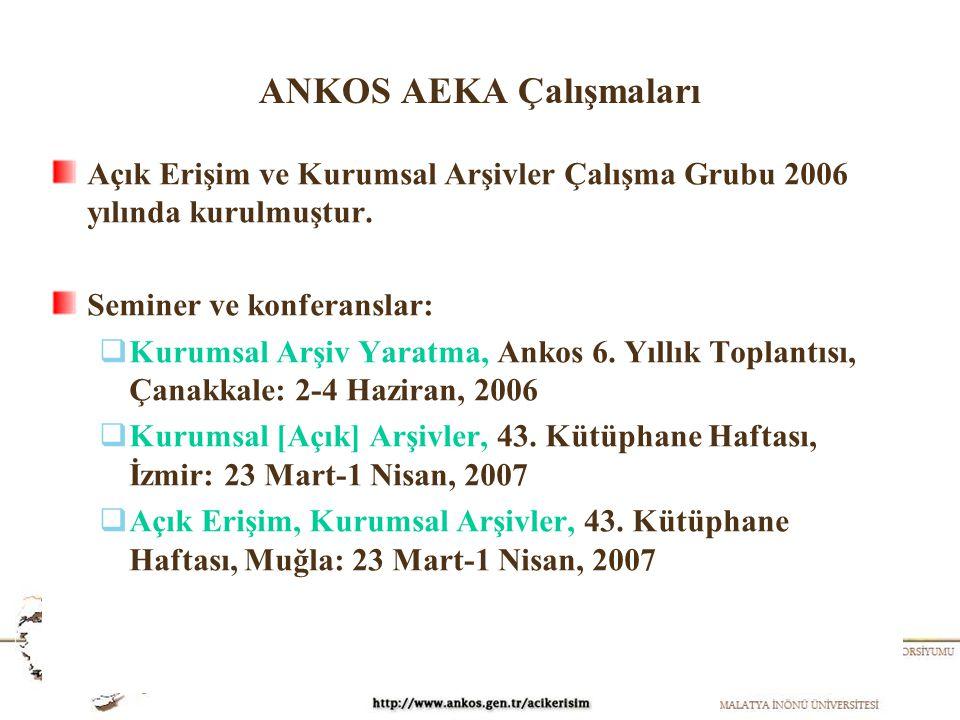 ANKOS AEKA Çalışmaları Açık Erişim ve Kurumsal Arşivler Çalışma Grubu 2006 yılında kurulmuştur. Seminer ve konferanslar:  Kurumsal Arşiv Yaratma, Ank