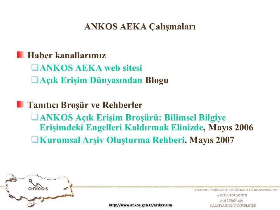 ANKOS AEKA Çalışmaları Haber kanallarımız  ANKOS AEKA web sitesi  Açık Erişim Dünyasından Blogu Tanıtıcı Broşür ve Rehberler  ANKOS Açık Erişim Broşürü: Bilimsel Bilgiye Erişimdeki Engelleri Kaldırmak Elinizde, Mayıs 2006  Kurumsal Arşiv Oluşturma Rehberi, Mayıs 2007