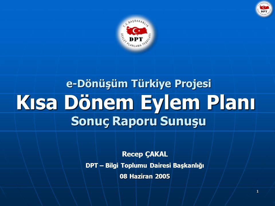 1 e-Dönüşüm Türkiye Projesi Kısa Dönem Eylem Planı Sonuç Raporu Sunuşu Recep ÇAKAL DPT – Bilgi Toplumu Dairesi Başkanlığı 08 Haziran 2005
