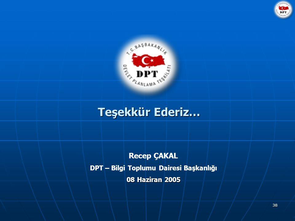 38 Teşekkür Ederiz… Recep ÇAKAL DPT – Bilgi Toplumu Dairesi Başkanlığı 08 Haziran 2005