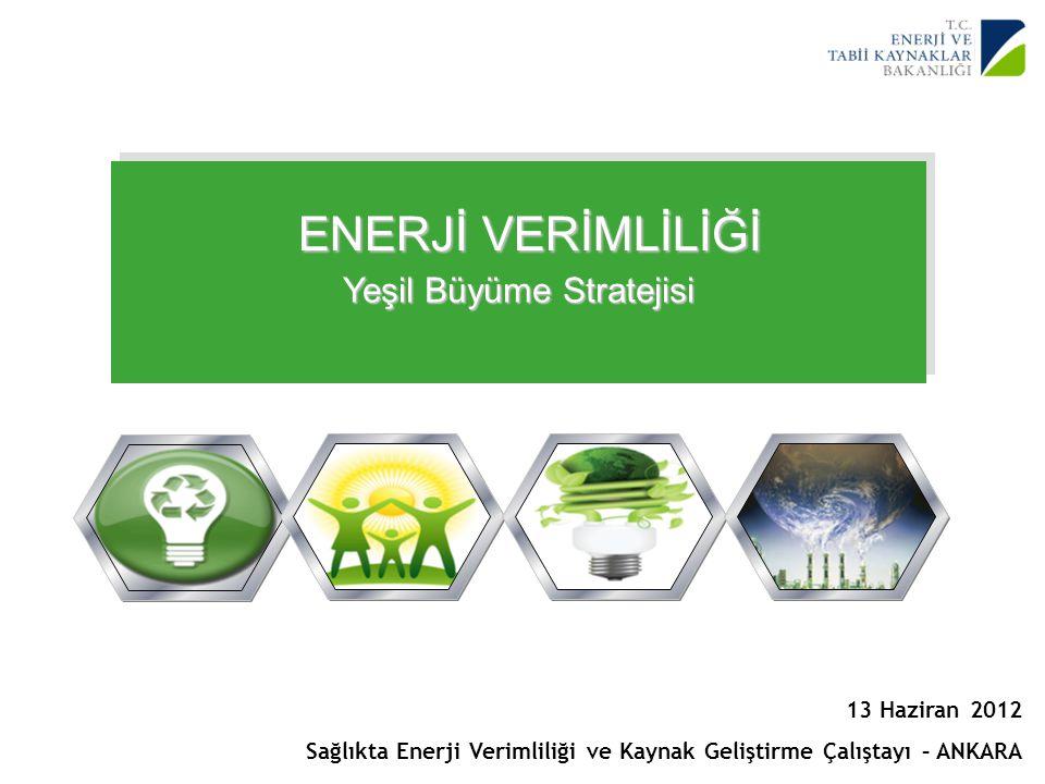 1 Yenilenebilir Enerji Genel Müdürlüğü ENERJİ VERİMLİLİĞİ Yeşil Büyüme Stratejisi 13 Haziran 2012 Sağlıkta Enerji Verimliliği ve Kaynak Geliştirme Çal
