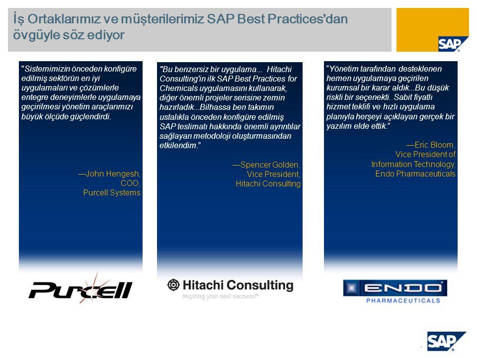İş Ortaklarımız ve müşterilerimiz SAP Best Practices'dan övgüyle söz ediyor