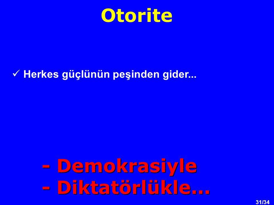 31/34 Herkes güçlünün peşinden gider... Otorite - Demokrasiyle - Diktatörlükle...