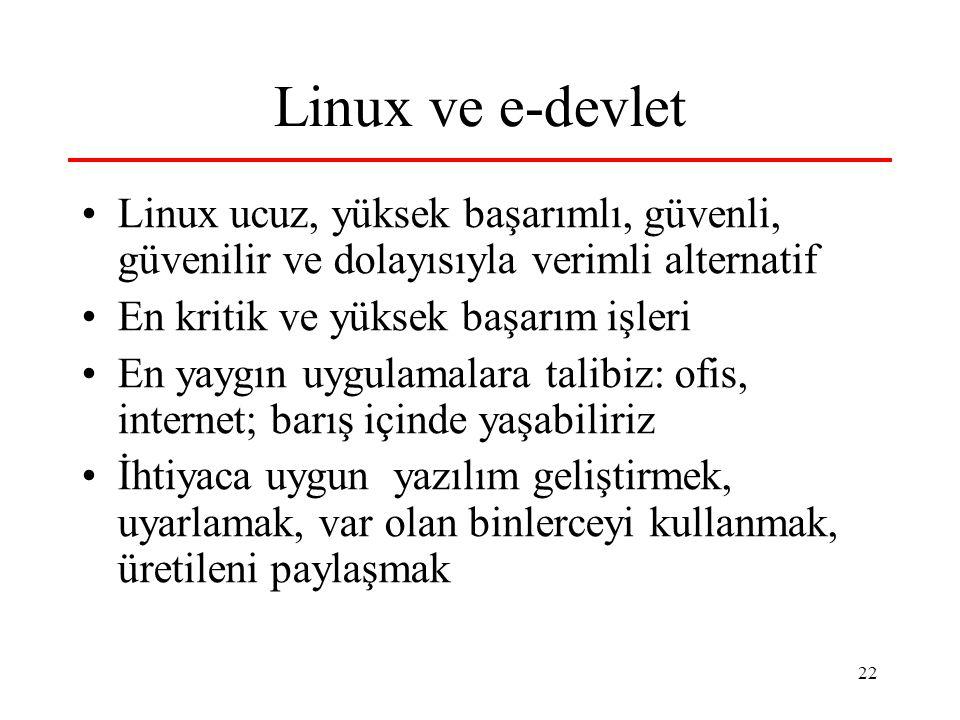 22 Linux ve e-devlet Linux ucuz, yüksek başarımlı, güvenli, güvenilir ve dolayısıyla verimli alternatif En kritik ve yüksek başarım işleri En yaygın uygulamalara talibiz: ofis, internet; barış içinde yaşabiliriz İhtiyaca uygun yazılım geliştirmek, uyarlamak, var olan binlerceyi kullanmak, üretileni paylaşmak