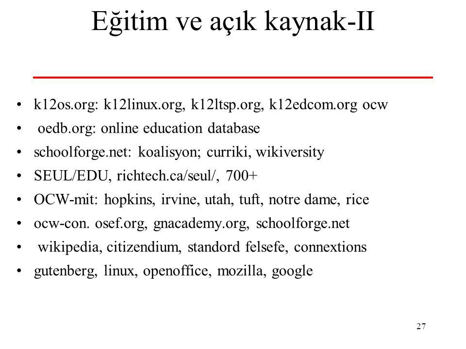 27 Eğitim ve açık kaynak-II k12os.org: k12linux.org, k12ltsp.org, k12edcom.org ocw oedb.org: online education database schoolforge.net: koalisyon; curriki, wikiversity SEUL/EDU, richtech.ca/seul/, 700+ OCW-mit: hopkins, irvine, utah, tuft, notre dame, rice ocw-con.