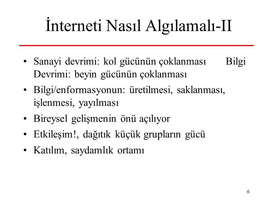 17 Katılım, Demokrasi ve İnterne t Anti-global hareket interneti çok etkin...