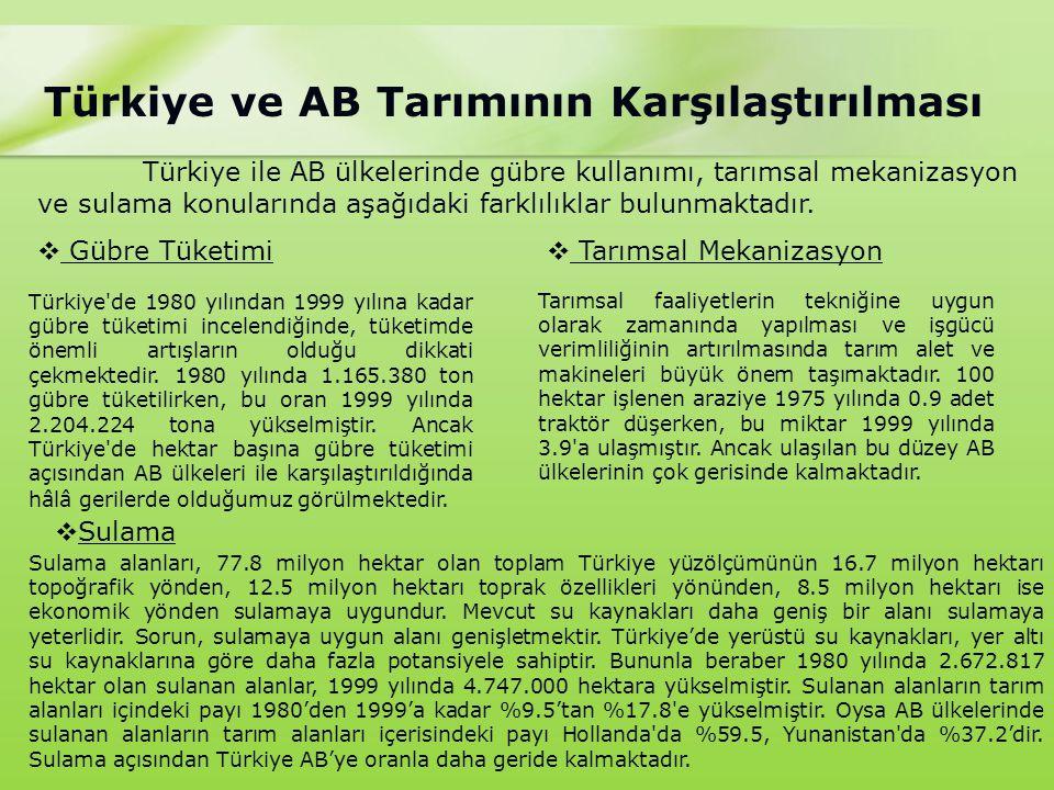 Türkiye ile AB ülkelerinde gübre kullanımı, tarımsal mekanizasyon ve sulama konularında aşağıdaki farklılıklar bulunmaktadır.