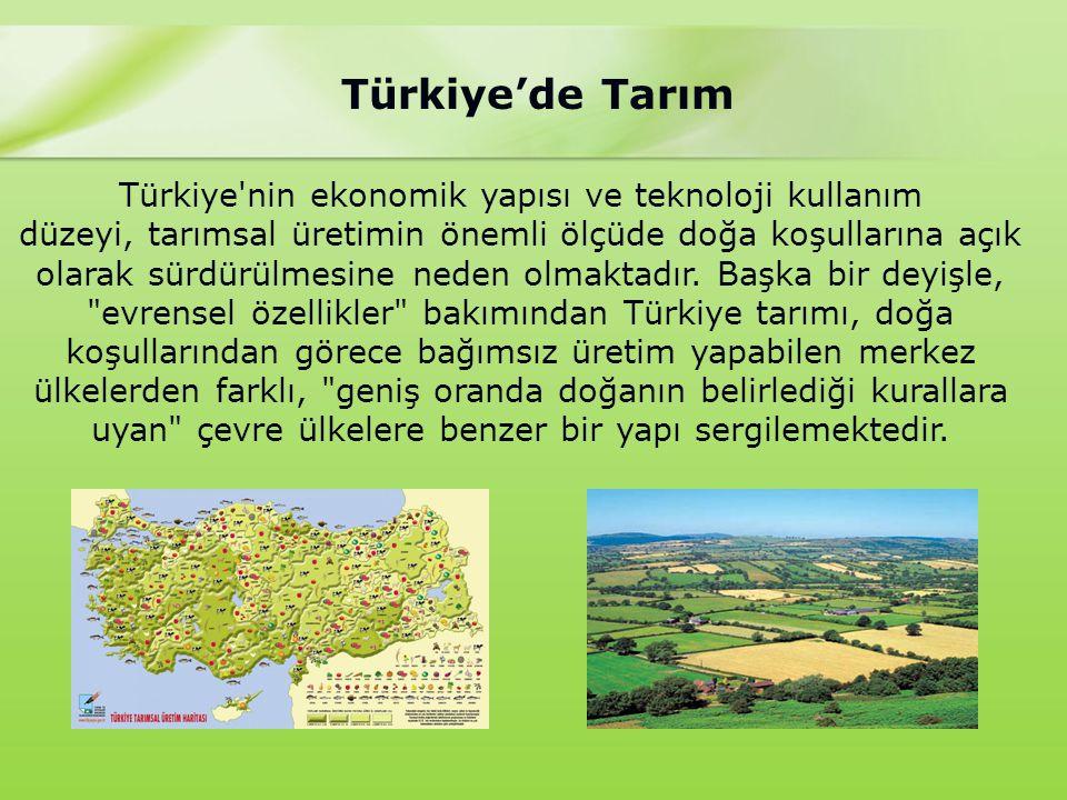 Türkiye'de Tarım Türkiye 78 milyon hektar yüzölçümüne sahiptir.Bunun 28 milyon hektarı tarım arazisidir.Tarım arazilerinin ise 8.5 milyon hektarı ekonomik olarak sulanabilmekte iken biz bunun sadece 4.5 milyon hektarını sulayabiliyoruz.Yani tarıma elverişli arazilerin yaklaşık yarısını eko.olarak sulayamamaktayız.