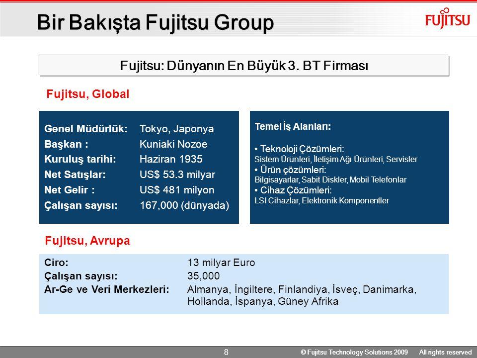 © Fujitsu Technology Solutions 2009 All rights reserved 8 Bir Bakışta Fujitsu Group Genel Müdürlük: Tokyo, Japonya Başkan : Kuniaki Nozoe Kuruluş tarihi: Haziran 1935 Net Satışlar: US$ 53.3 milyar Net Gelir : US$ 481 milyon Çalışan sayısı: 167,000 (dünyada) Ciro: 13 milyar Euro Çalışan sayısı: 35,000 Ar-Ge ve Veri Merkezleri:Almanya, İngiltere, Finlandiya, İsveç, Danimarka, Hollanda, İspanya, Güney Afrika Fujitsu, Avrupa Temel İş Alanları: Teknoloji Çözümleri: Sistem Ürünleri, İletişim Ağı Ürünleri, Servisler Ürün çözümleri: Bilgisayarlar, Sabit Diskler, Mobil Telefonlar Cihaz Çözümleri: LSI Cihazlar, Elektronik Komponentler Fujitsu, Global Fujitsu: Dünyanın En Büyük 3.