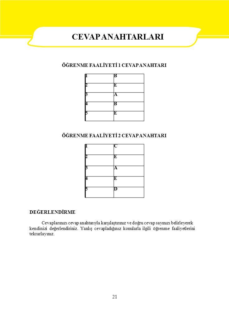 1C 2E 3A 4E 5D 1B 2E 3A 4B 5E 21 CEVAP ANAHTARLARI ÖĞRENME FAALİYETİ 1 CEVAP ANAHTARI ÖĞRENME FAALİYETİ 2 CEVAP ANAHTARI DEĞERLENDİRME Cevaplarınızı cevap anahtarıyla karşılaştırınız ve doğru cevap sayınızı belirleyerek kendinizi değerlendiriniz.
