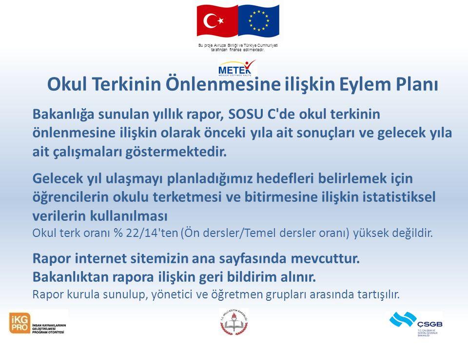 Bu proje Avrupa Birliği ve Türkiye Cumhuriyeti tarafından finanse edilmektedir. Okul Terkinin Önlenmesine ilişkin Eylem Planı Bakanlığa sunulan yıllık