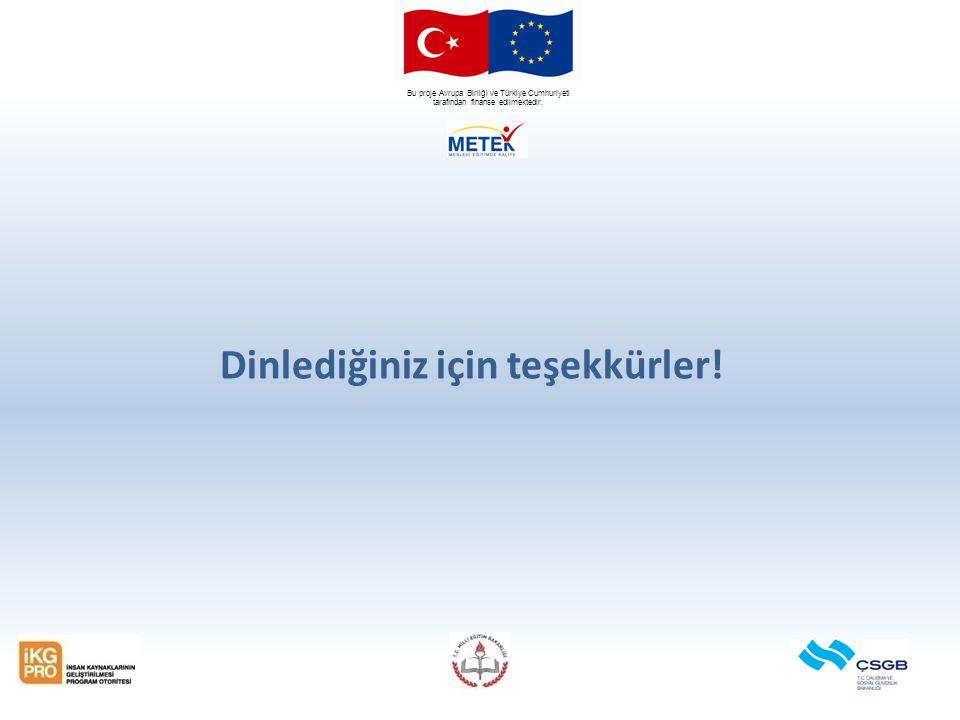 Bu proje Avrupa Birliği ve Türkiye Cumhuriyeti tarafından finanse edilmektedir. Dinlediğiniz için teşekkürler!