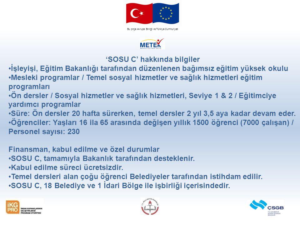 Bu proje Avrupa Birliği ve Türkiye Cumhuriyeti 'SOSU C' hakkında bilgiler İşleyişi, Eğitim Bakanlığı tarafından düzenlenen bağımsız eğitim yüksek okul