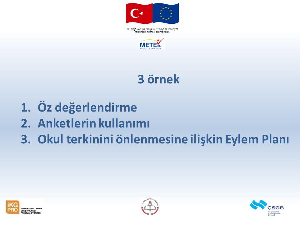 Bu proje Avrupa Birliği ve Türkiye Cumhuriyeti tarafından finanse edilmektedir. 3 örnek 1.Öz değerlendirme 2.Anketlerin kullanımı 3.Okul terkinini önl