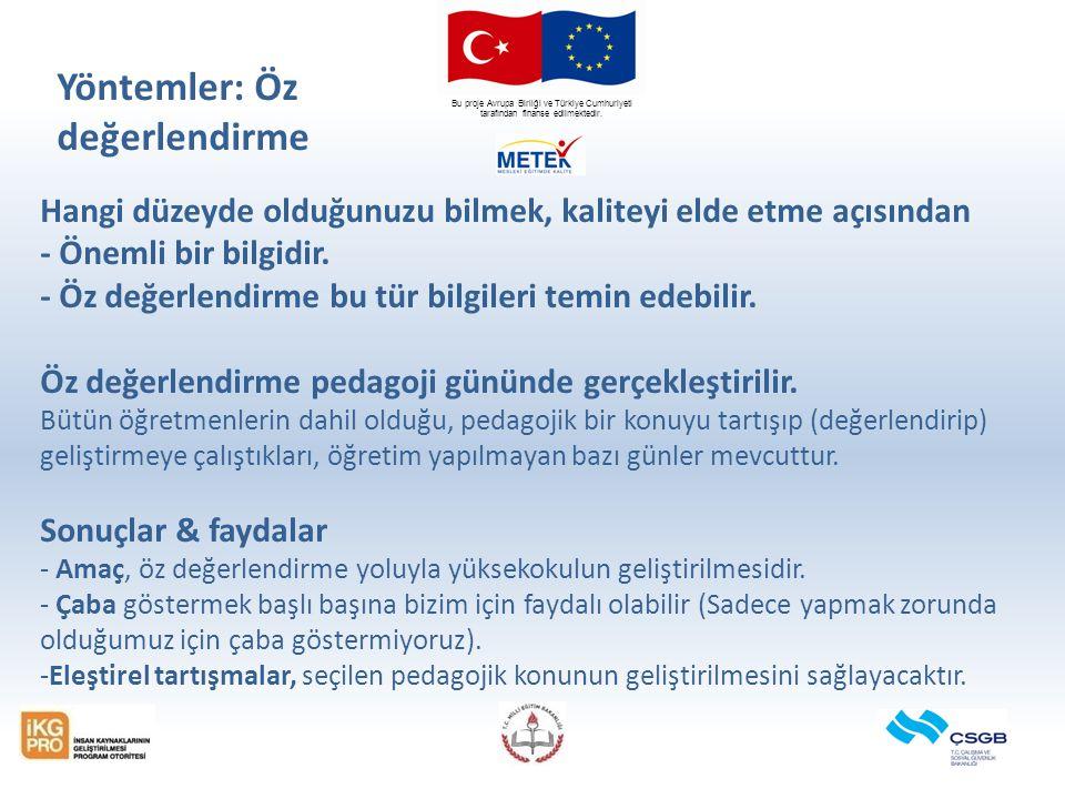 Bu proje Avrupa Birliği ve Türkiye Cumhuriyeti tarafından finanse edilmektedir. Hangi düzeyde olduğunuzu bilmek, kaliteyi elde etme açısından - Önemli
