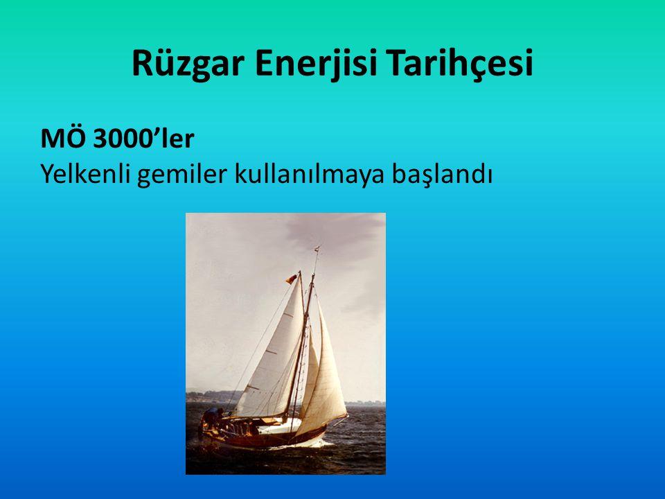 Rüzgar Enerjisi Tarihçesi MÖ 3000'ler Yelkenli gemiler kullanılmaya başlandı