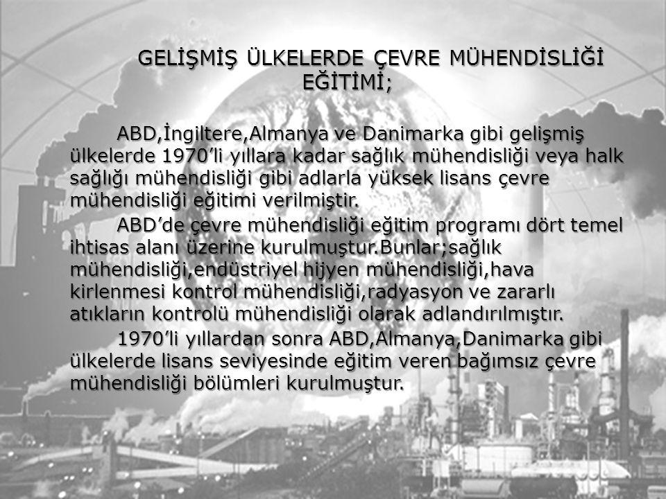 GELİŞMİŞ ÜLKELERDE ÇEVRE MÜHENDİSLİĞİ EĞİTİMİ; ABD,İngiltere,Almanya ve Danimarka gibi gelişmiş ülkelerde 1970'li yıllara kadar sağlık mühendisliği ve