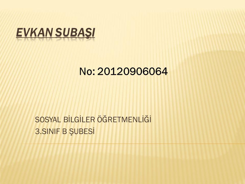 SOSYAL BİLGİLER ÖĞRETMENLİĞİ 3.SINIF B ŞUBESİ No: 20120906064