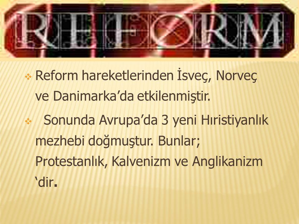  Reform hareketlerinden İsveç, Norveç ve Danimarka'da etkilenmiştir.  Sonunda Avrupa'da 3 yeni Hıristiyanlık mezhebi doğmuştur. Bunlar; Protestanlık