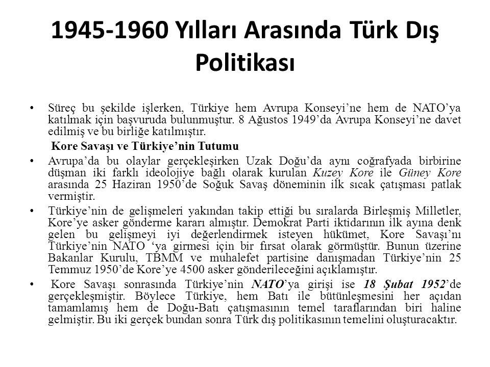 1945-1960 Yılları Arasında Türk Dış Politikası Süreç bu şekilde işlerken, Türkiye hem Avrupa Konseyi'ne hem de NATO'ya katılmak için başvuruda bulunmuştur.