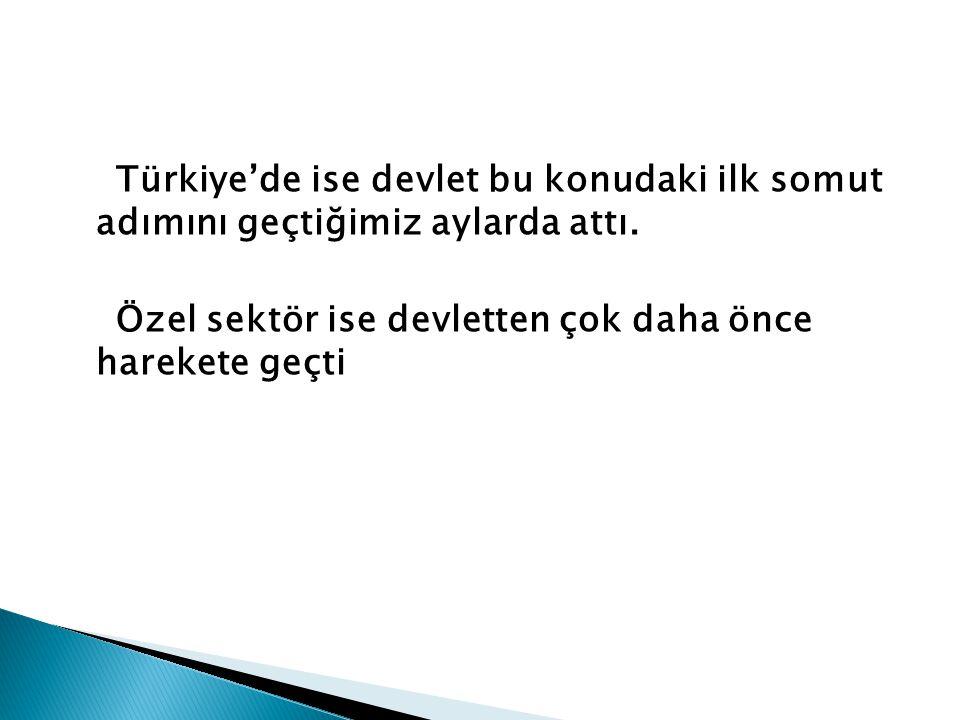 Türkiye'de ise devlet bu konudaki ilk somut adımını geçtiğimiz aylarda attı. Özel sektör ise devletten çok daha önce harekete geçti