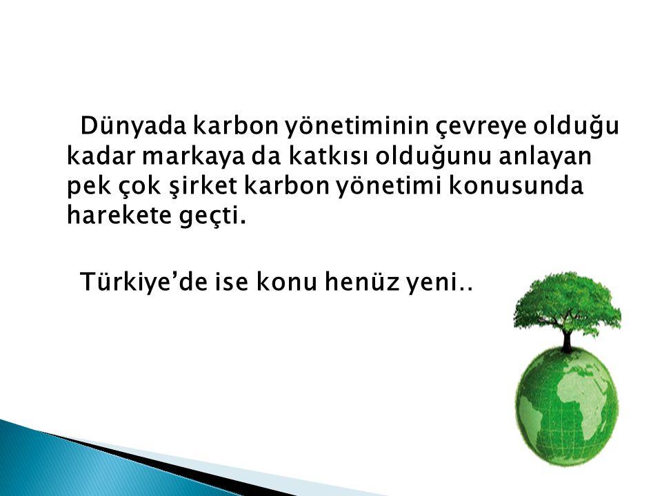 Dünyada karbon yönetiminin çevreye olduğu kadar markaya da katkısı olduğunu anlayan pek çok şirket karbon yönetimi konusunda harekete geçti. Türkiye'd