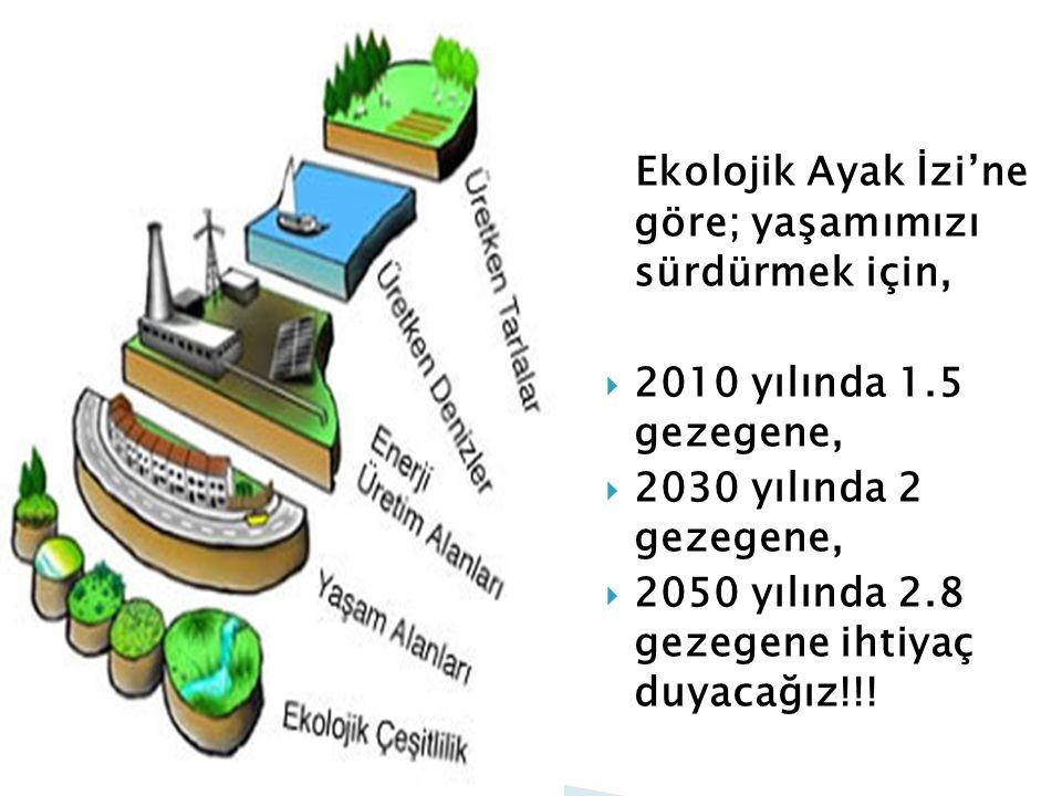 Ekolojik Ayak İzi'ne göre; yaşamımızı sürdürmek için,  2010 yılında 1.5 gezegene,  2030 yılında 2 gezegene,  2050 yılında 2.8 gezegene ihtiyaç duya