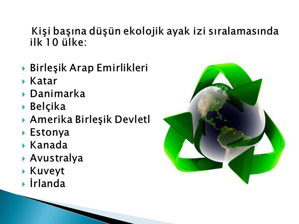 Kişi başına düşün ekolojik ayak izi sıralamasında ilk 10 ülke:  Birleşik Arap Emirlikleri  Katar  Danimarka  Belçika  Amerika Birleşik Devletleri
