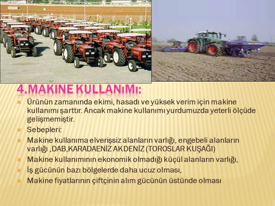  Ürünün zamanında ekimi, hasadı ve yüksek verim için makine kullanımı şarttır.