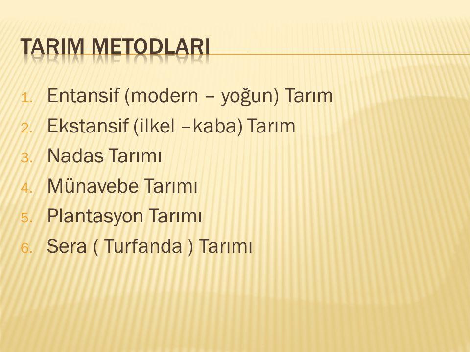 1.Entansif (modern – yoğun) Tarım 2. Ekstansif (ilkel –kaba) Tarım 3.