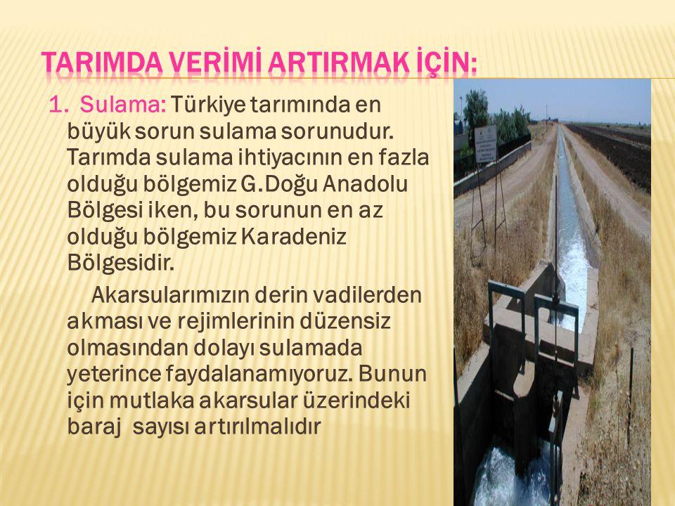 1.Sulama: Türkiye tarımında en büyük sorun sulama sorunudur.