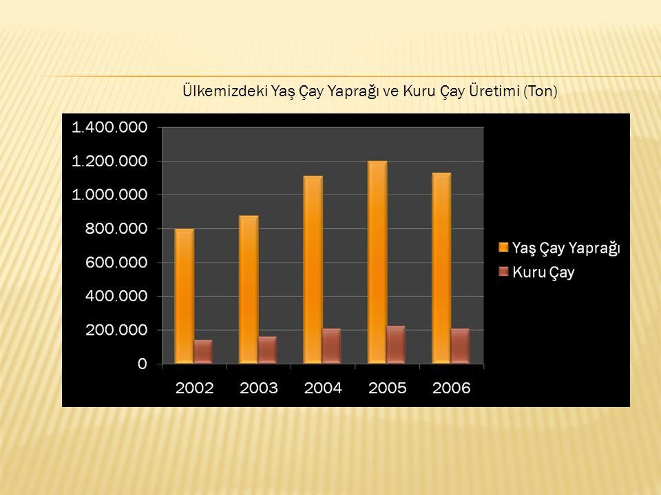 Ülkemizdeki Yaş Çay Yaprağı ve Kuru Çay Üretimi (Ton)