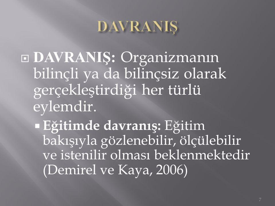  DAVRANIŞ: Organizmanın bilinçli ya da bilinçsiz olarak gerçekleştirdiği her türlü eylemdir.