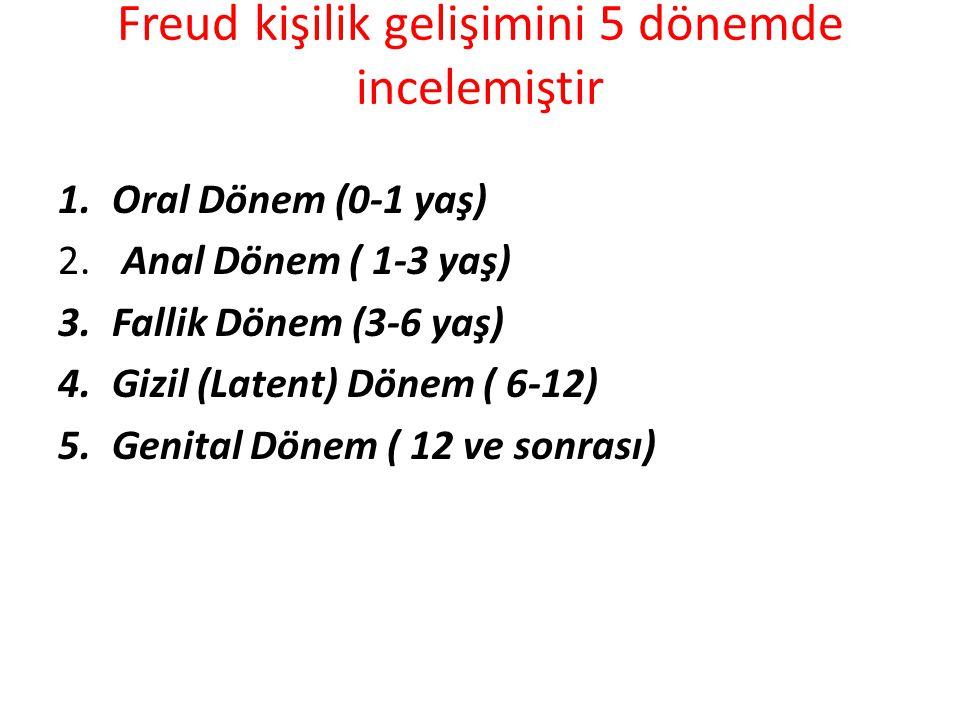 Freud kişilik gelişimini 5 dönemde incelemiştir 1.Oral Dönem (0-1 yaş) 2.