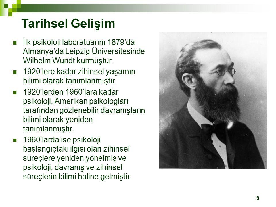 3 İlk psikoloji laboratuarını 1879'da Almanya'da Leipzig Üniversitesinde Wilhelm Wundt kurmuştur. 1920'lere kadar zihinsel yaşamın bilimi olarak tanım