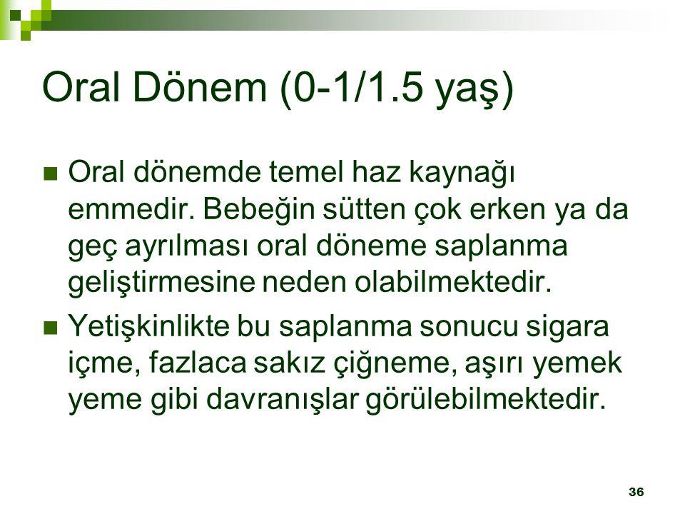 36 Oral Dönem (0-1/1.5 yaş) Oral dönemde temel haz kaynağı emmedir.