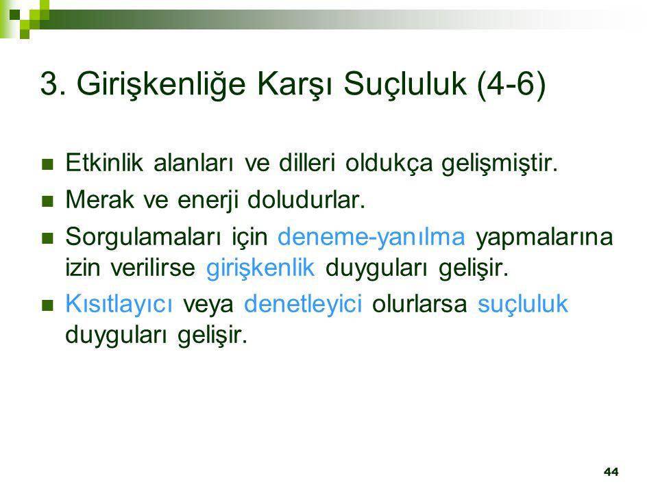 44 3. Girişkenliğe Karşı Suçluluk (4-6) Etkinlik alanları ve dilleri oldukça gelişmiştir. Merak ve enerji doludurlar. Sorgulamaları için deneme-yanılm