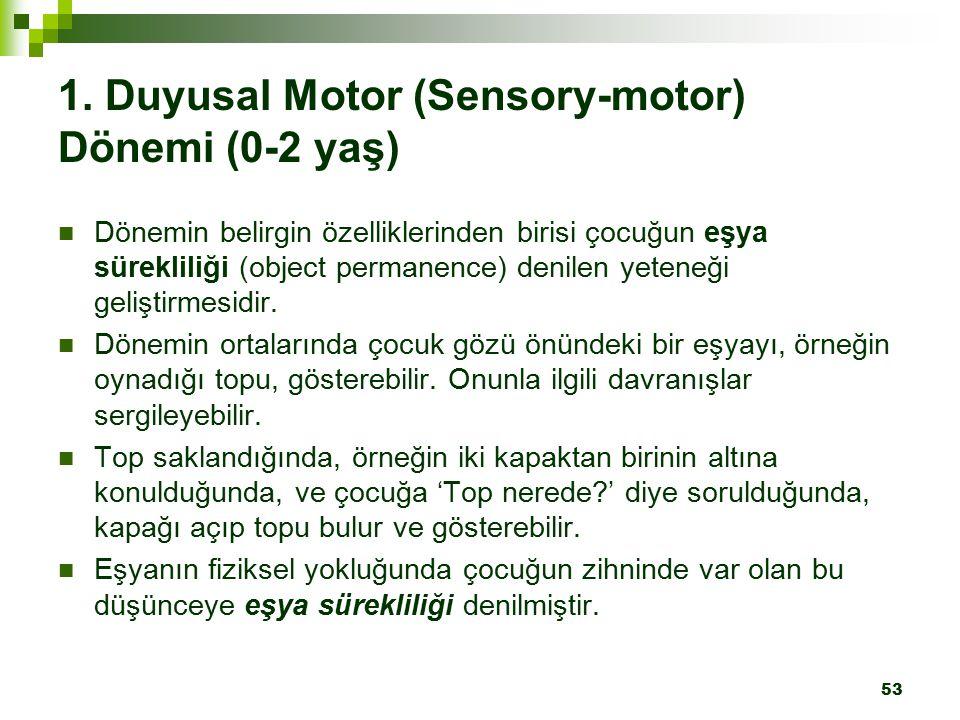 53 1. Duyusal Motor (Sensory-motor) Dönemi (0-2 yaş) Dönemin belirgin özelliklerinden birisi çocuğun eşya sürekliliği (object permanence) denilen yete